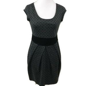 BeBop M Dress Gray Polka Dot Stretch Knit Casual